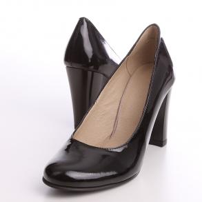 Pantofi cu toc din piele lacuita naturala neagra