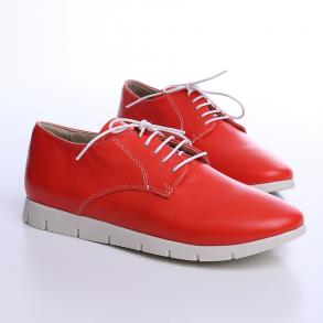 Pantofi din piele box de culoare corai, inchidere cu siret