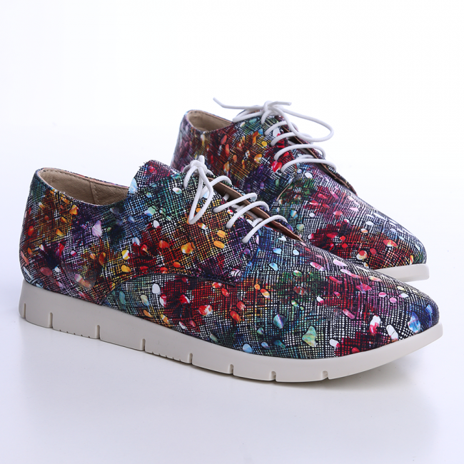 Pantofi din piele box bleumarin cu print inflorat