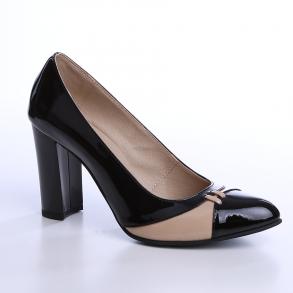 Pantofi cu toc din piele naturala lacuita de culoare neagra combinata cu piele lacuita nude