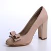 Pantofi cu toc din piele box bej combinat cu piele lacuita nude si accesoriu