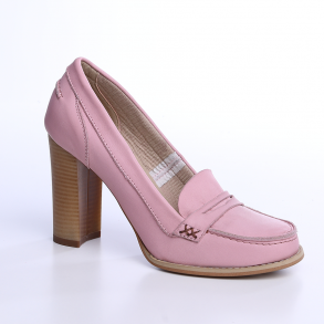 Pantofi cu toc din piele box roz