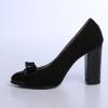 Pantofi cu toc din piele box negru, cu piele lacuita neagra si accesoriu funda