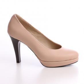 Parma, pantofi din piele naturala nude cu platforma