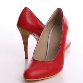 Pantofi cu toc din piele naturala rosie