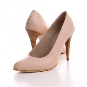 Pantofi cu toc din piele naturala nude