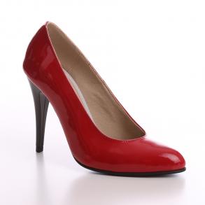 Pantofi cu toc din piele naturala lacuita rosie