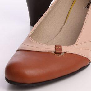 Pantof din piele naturala nude in combinatie cu piele maro