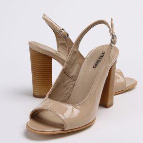 Pantofi decupati in fata si spate din piele lacuita naturala nude