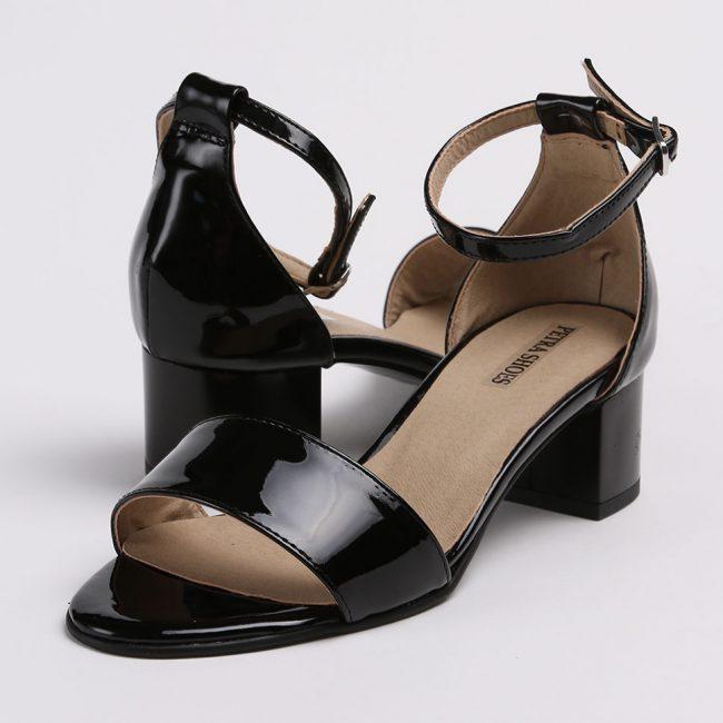 Sandale din piele naturala neagra lacuita