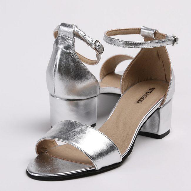 Sandale din piele naturala argintie cu toc imbracat la nuanta pielii