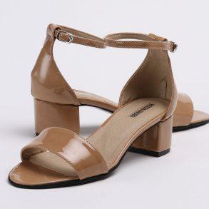 Sandale din piele naturala cappuccino lacuita