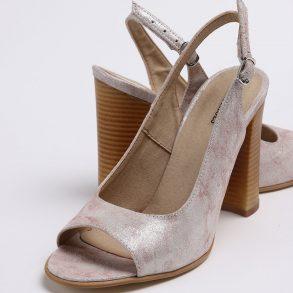 Pantofi decupati in fata si spate de culoare bej sidef