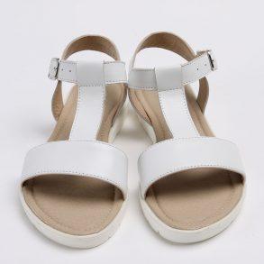 Sandale din piele naturala de culoare alba
