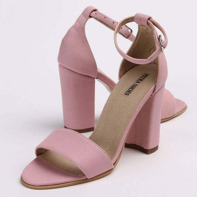 Sandale din piele naturala de culoare roz cu tocul imbracat