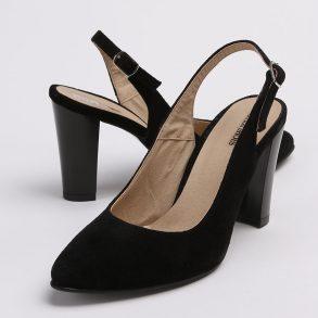 Pantofi decupati la spate de culoare neagra din piele intoarsa
