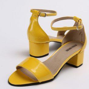 Sandale din piele lacuita naturala galbena cu tocul imbracat