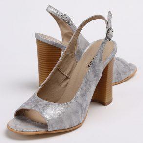 Pantofi decupati in fata si spate din piele naturala sidefata albastru marine