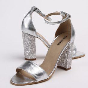 Sandale din piele naturala argintie cu toc imbracat