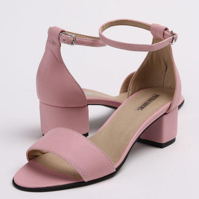 Sandale din piele naturala roz cu toc