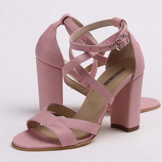 Sandale din piele naturala de culoare roz